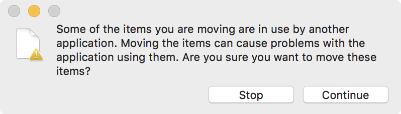 Finder error message when trying to move a still being written to file