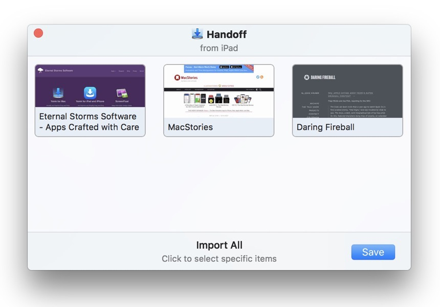 Yoink's Handoff on macOS