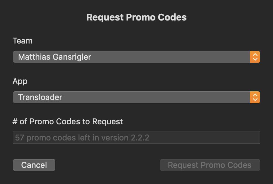 Custom UI with promo code info loaded for an app